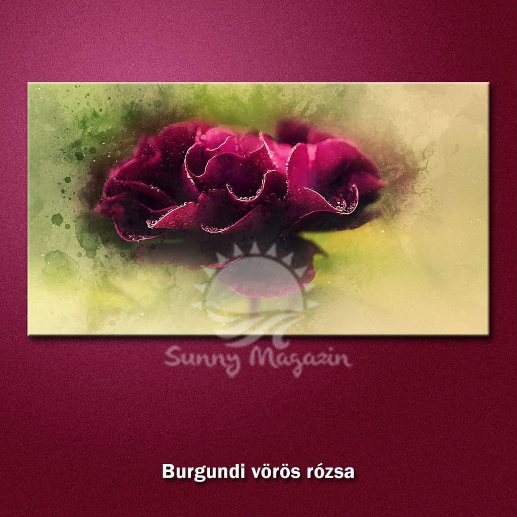 Burgundi-rózsa - vászon falikép vakrámával