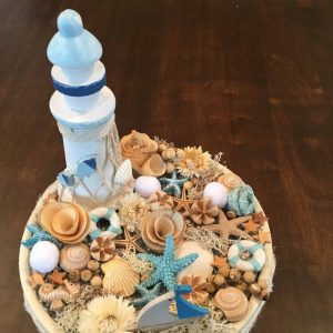 Világítótornyos tengerparti asztaldísz
